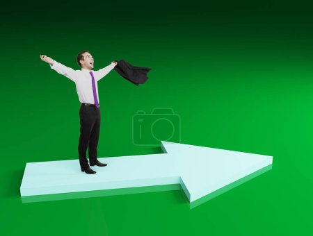 Businessman celebrating success on green background. Success and growth concept