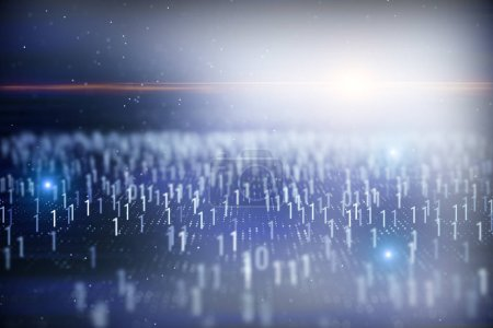 Photo for Abstract blurry binary code background. Technology and computing concept. 3D Rendering - Royalty Free Image