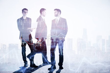 Businesspeople silhouettes standing on abstract city background with forex chart and copy space. Employment, teamwork and trade concept. Double exposure