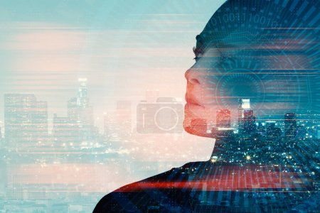 Attractive young woman portrait on abstract night city background with copy space and digital pattern. Double exposure