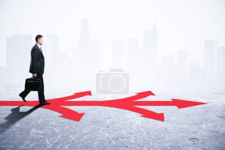 Businessman walking on arrows on abstract gray background. Different direction and choice concept