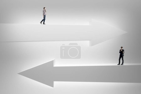 Businessman and woman on abstract white arrows. Choice, direction and success concept. 3D Rendering