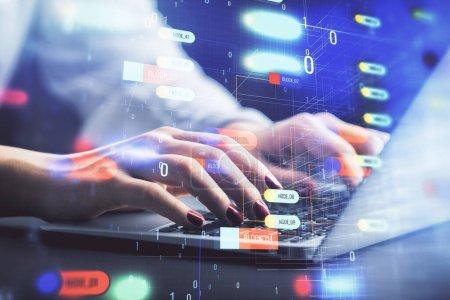 Photo pour Exposition multiple des mains de la femme travaillant sur l'ordinateur et le thème de données dessin hologramme. Concept technique . - image libre de droit