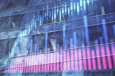 Photo pour Graphique Forex sur le paysage urbain avec de hauts bâtiments arrière-plan multi exposition. Concept de recherche financière. - image libre de droit