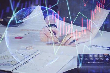 Photo pour Double exposition de l'écriture de l'homme sur papier avec graphique forex. Concept de recherche et de trading . - image libre de droit