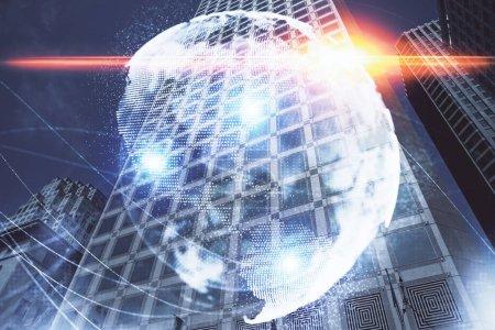 Photo pour Double exposition de dessin d'hologramme de thème d'affaires et fond veiw ville. Concept de succès. - image libre de droit