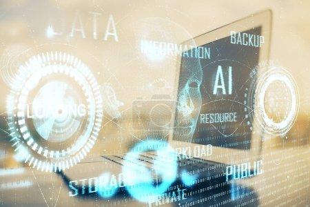Photo pour Double exposition de bureau avec ordinateur sur fond et dessin de thème technique. Concept de big data. - image libre de droit