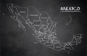 Mexico map new political detailed map separate individual states with state names card blackboard school chalkboard vector