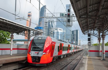 MOSCOW, RUSSIA - June, 22, 2017 Electric train Lastochka at the Shelepikha station of the Moscow Central Ring.