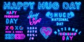 january 21 - national hug day - neon style lettering inscription text to winter holiday design calligraphy vector illustration National Hug Day Vector IllustrationText typography decoration and