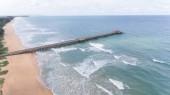 Aerial concret bridge on sea