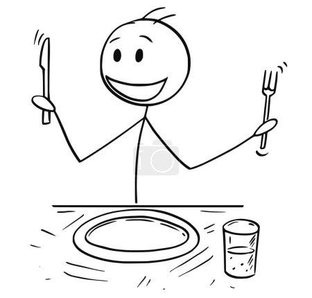 Illustration pour Dessin de bâton de bande dessinée illustration de l'homme enthousiaste affamé tenant fourchette et couteau assis à table et attendant la nourriture . - image libre de droit
