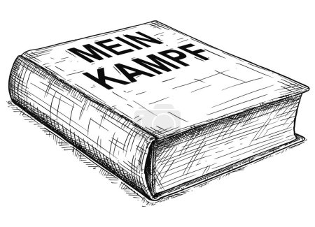 Vector Artistic Drawing Illustration of Book of Adolf Hitler - Mein Kampf