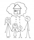 Cartoon stick figure drawing conceptual illustration of unhappy family couple of man and woman and two children thinking about family house or real estate property investment