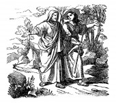 Vintage Drawing of Biblical Story of Ruth and Boaz Man and Woman Are Walking Together
