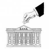 Vector Drawing of Hand of Businessman Putting Coin in Classic Bank Building