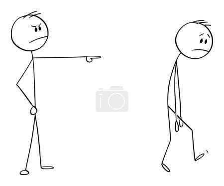Illustration pour Figure de bâton de dessin animé vectoriel dessin illustration conceptuelle de l'homme en colère ou patron expulsant un autre homme, le forçant à quitter . - image libre de droit