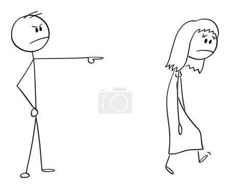 Illustration pour Figure de bâton de dessin animé vectoriel dessin illustration conceptuelle de l'homme en colère ou patron expulsant la femme, la forçant à quitter . - image libre de droit
