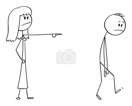 Illustration pour Figure de bâton de dessin animé vectoriel dessin illustration conceptuelle de la femme en colère ou femme patron expulsant l'homme, le forçant à quitter . - image libre de droit