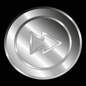 A metallic button with the double arrow inside: symbol of fast forward action isolated on black background - Vector