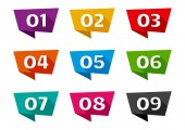 Colorful ribbon banner font numbers from 01 to 09 Vector illustration