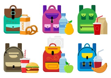 Illustration for School backpacks and lunch food. Vector illustration - Royalty Free Image