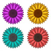 Set of colorful flowers Vector illustration