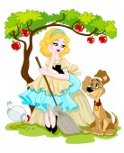 Cinderella fairytale illustration where the girl is sitting with her dog