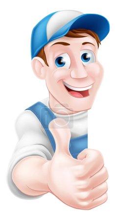 Illustration pour Pouce vers le haut mécanicien de dessin animé, plombier, bricoleur, décorateur ou jardinier - image libre de droit