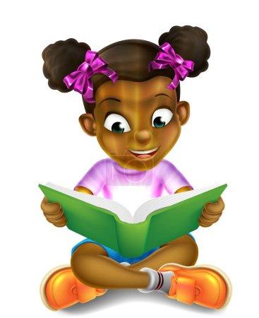 A happy cartoon little black girl enjoying reading...