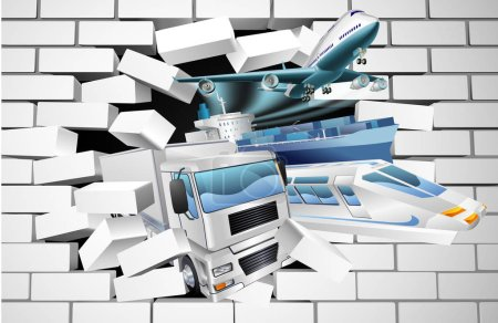 Illustration pour Un concept d'exportation de fret logistique de transport d'un train, cargo porte-conteneurs, avion et camion éclatant à travers un mur de briques blanches - image libre de droit