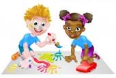Boy and Girl Kids Playing