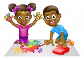 Cartoon Boy and Girl Playing with Toy Car and Paint