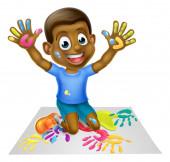 Cartoon Black Boy Painting