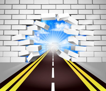 Illustration for A road breaking through a white brick wall, concept for overcoming adversity or obstacles in life or in business - Royalty Free Image