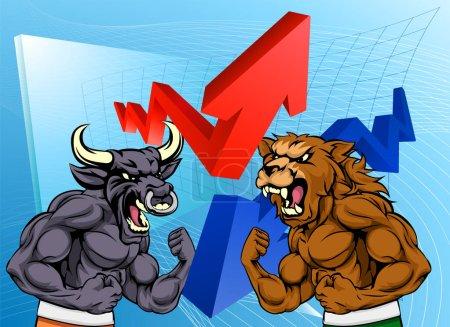 Illustration pour Concept financier d'un taureau de bande dessinée contre des personnages de mascotte d'ours devant un marché boursier ou un graphique de profit - image libre de droit