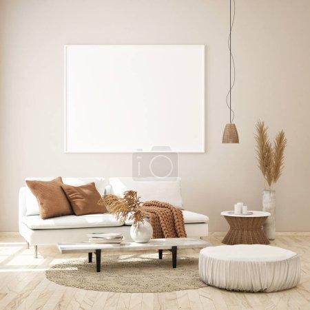 Photo pour Maquette image postérisée en fond intérieur moderne, style scandinave, rendu 3d, illustration 3d - image libre de droit