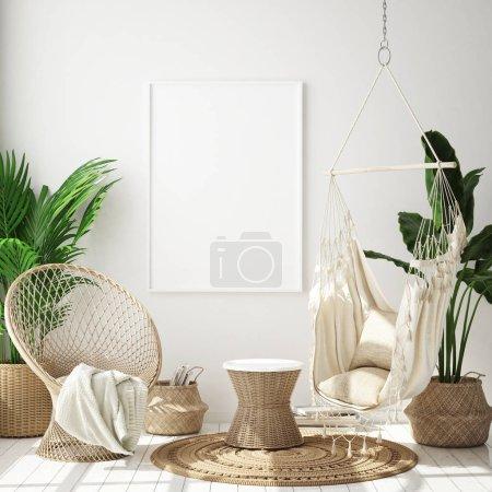 Photo pour Maquette image postérisée en fond intérieur moderne, salon, style scandinave, rendu 3d, illustration 3d - image libre de droit