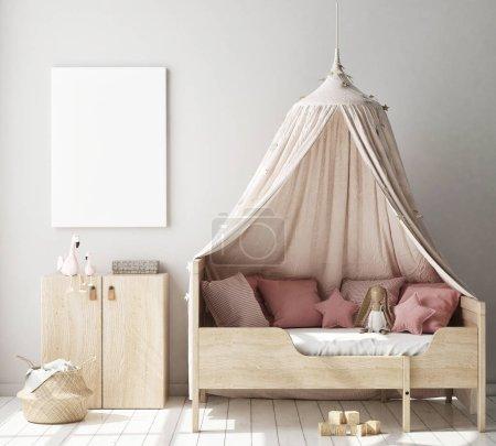 Foto de Marco del cartel de la maqueta para arriba en dormitorio de los niños, fondo interior del estilo escandinavo, representación 3D, ilustración 3D - Imagen libre de derechos