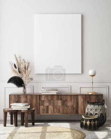 Photo pour Maquette de cadre d'affiche en arrière-plan intérieur moderne, salon, style scandinave, rendu 3D, illustration 3D - image libre de droit