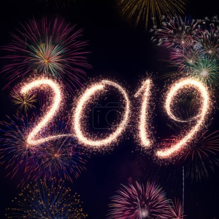New year eve 2019 fireworks over black background