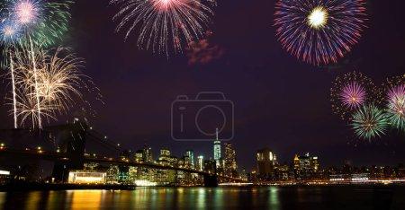 New year eve fireworks over Brooklyn bridge