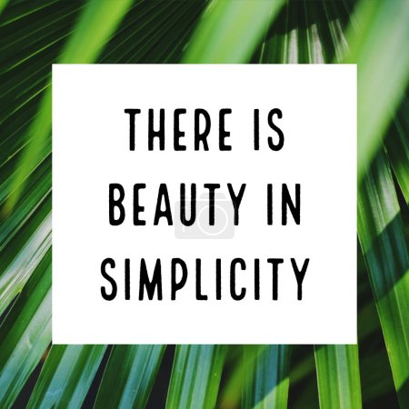 Photo for Inspirational motivation quote art about simplicity on green plant background - Royalty Free Image
