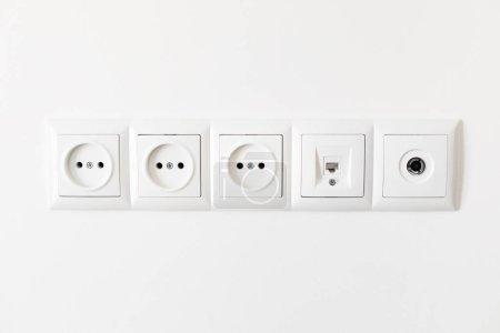 Set of  sockets on the white wall