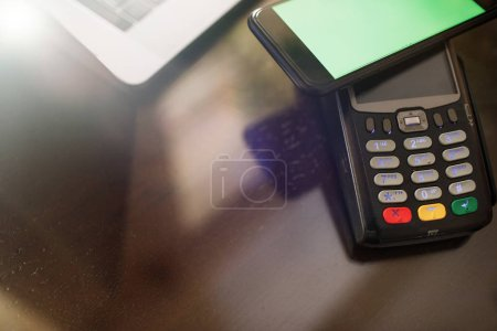 mobile payment with NFC technology or credit card terminal.
