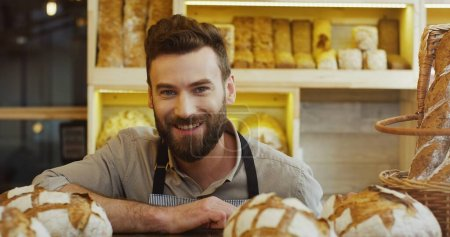 Photo for Portrait of male baker working in bakery shop - Royalty Free Image