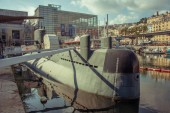 CHELYABINSK, RUSSIA, JULY 04, 2017 - Nazario Sauro 518 submarine is a diesel-powered submarine of the Italian Navy. It is currently a museum ship moored in the ancient port of Genoa, Italy