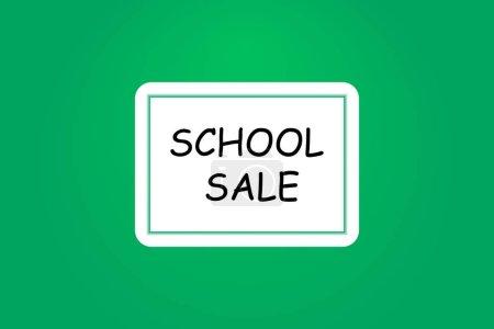 School sale banner with line icon on blackboard. D...