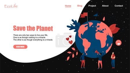 Illustration for Web Template. Concept save the planet and environment. - Royalty Free Image