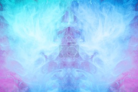 Photo for Frozen abstract movement of  explosion smoke multiple pink and blue neon  colors. Background from the smoke of vap - Royalty Free Image